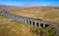 66718 on Ribblehead Viaduct (robmcrorie) Tags: 66718 gbrf class 66 ribblehead viaduct settle carlisle railway arcow quarry pendleton phantom 4 1z10