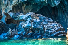The marble caves of Puerto Rio Tranquillo in Patagonia Chile.  These caves are on lake General Carrera along the Carretera Austral route.