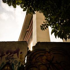 Lisbon, December 27, 2018 (Ulf Bodin) Tags: tree lissabon crack bridge ponte25deabril lisbon lisboa canonef1635mmf4lisusm urbanlife bro sky outdoor wall canoneosr 25deabrilbridge portugal pt