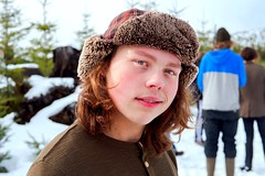 (dylanjamesbaumer) Tags: smile coat beanie gh5 panasonic wideangle millimeters 50mm model agriculture snowday water mountains trees clouds portraiture portrait snow
