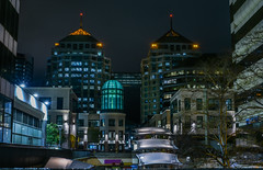silent city center (pbo31) Tags: bayarea california eastbay alamedacounty nikon d810 color night dark black march 2019 boury pbo31 urban oakland downtown city broadway street bridge skyline architecture plaza