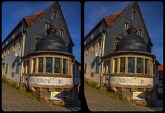 Abandoned hotel in Hohnstein 3-D / CrossView / Stereoscopy (Stereotron) Tags: saxony sachsen saxonswitzerland sandstone mountains nationalpark sächsischeschweiz hohnstein schiefer slate roof ferienidyll deutschland germany europe cross eye view xview crosseye pair free sidebyside sbs kreuzblick bildpaar 3d photo image stereo spatial stereophoto stereophotography stereoscopic stereoscopy stereotron threedimensional stereoview stereophotomaker photography picture raumbild twin canon eos 550d remote control synchron kitlens 1855mm tonemapping hdr hdri raw 100v10f