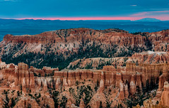 First Light at Bryce (Ron Drew) Tags: nikon d800 utah nationalpark brycecanyonnationpark brycecanyon navajomountain canyon park vista landscapr outdoor bluehour sunrise dawn cliff hoodoo trees mountain valley usa summer rim morning
