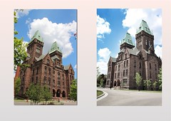 Buffalo New York  - Richardson Olmsted Campus - Hotel Henry Urban Resort Conference Center (Onasill ~ Bill Badzo) Tags: hotel henry urban resort conference center the richardson olmsted campus buffalo state asylum for insane ny erie county new york hh complex romanesque richardsonian stone arches entrance historical nrhp registry us national landmark attraction traveler architecture architect 100 years frederick law hospital 1870 psychiatric onasill hobson clouds sunset winter eriecounty register usa unitedstate style attractionsite photo border outdoor building serene skyline