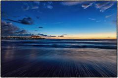Santa Monica Beach & Pier (drpeterrath) Tags: pier water ocean pacific sky cloud waves longexposure bluehour outdoor seascape blue weather travel sunset sunrise santamonica california calilife losangeles nightphotography night beach