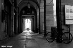 Portici con bici_ B&W_1 (MarinoLandolfo) Tags: street strade piazze portici archi bologna citta vie vicoli palazzi biciclette passeggio