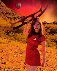 Lt. Commander Jean Troi Waiting for Arrival of Romulans (eoscatchlight) Tags: startrek starfleetofficers phoenix arizona strobist alienbees batleth model modeling topaz composite redhead littledress cosplay scifi sciencefiction sigma24105mmf4dgoshsmart