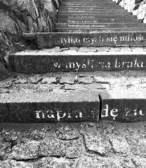 Peeling poetry (deziluzija) Tags: poem stairs stairwell stones typography words