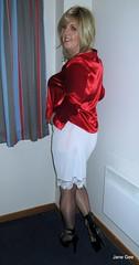 Pudding is coming (janegeetgirl2) Tags: transvestite crossdresser crossdressing tgirl tv ts trans jane gee black platform high heels red satin blouse white nylon half slip seamed stockings blonde