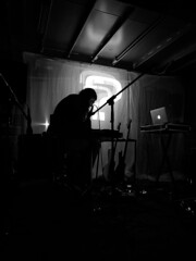 NAQ (MAKER Photography) Tags: naq nobody answers questions live music visual journey experience audio concert hamburg germany smartphone phone oneplus 6 bw black white monochrome single color colour greyscale outline silhouette person instrument guitar guitars macbook apple light projection boat