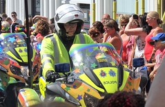 Sussex Police Biker. Pride Parade 2018. (ManOfYorkshire) Tags: parade procession pride gay brighton hove brightonhove sussex police bike biker stickers adorned special crashhelmet fullface dashboard watching crowds support colourful organised progress front