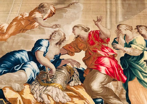 Death of Dido, detail, 1658-1670s, wool and silk tapestry (woven by Michael Wauters Tapestry Manufactory, Antwerp). Norton Simon Museum, Pasadena, California, February 2019