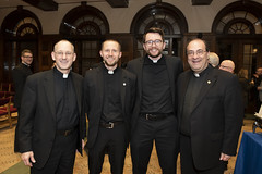 Reception after Mass at St. Mary's Seminary & University – Fr. Rouch, Ben Daghir, Kevin Holland, Fr. Kesicki.   Photo credit:  Larry Canner Photography