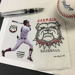 Opening Day for my son  - junior year - GO DAWGS!!! (schunky_monkey) Tags: fountainpen penandink ink pen illustration art drawing draw sketching sketch napkin dawgs bulldogs universityofgeorgia georgia openingday baseball