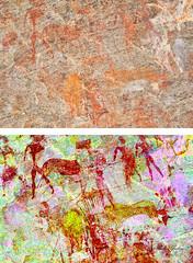 8982 - EKUTA     PENTIMENTI (Übermalung) (HerryB) Tags: 2013 southafrica southwest afrique afrika africa namibia südwest sonyalpha77 slr heribertbechen tamron alpha bechen fotos photos photography sony herryb rockart rockpaintings peintres rupestres petroglyph san zeichnungen felszeichnungen höhlenmalerei paintings bushmen buschmänner dstretch harman jon jonharman enhance falschfarben restauration digitalenhanced enhancement verwitterung granit granite enhanced ekuta abri halbhöhle überhang aiaiba hinterholzer erongo erongogebirge pentimenti