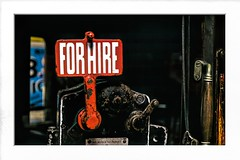vintage for hire taxi sign (Mallybee) Tags: vintage old taxi for hire sign mallybee red fuji fujifilm xt3 1855mm f284 fujinon