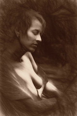 Andrea (Bill Eiffert) Tags: woman beautiful sketch pictorial portrait pixlr topaz demachy antique sepia person model
