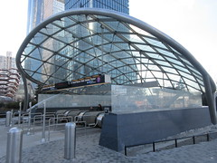 34th St Subway Station Entrance Hudson Yards 4186 (Brechtbug) Tags: 2019 march 34th st subway station entrance near jacob javits convention center hudson yards midtown manhattan new york city nyc 03172019 west side construction cityscape architecture urban landscape scape view cityview shadow silhouette close up skyline skyscraper railroad rail yard train amtrak tracks below grown buildings above patricks day saint patrick irish holiday
