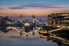 The Tower Reflects (JH Images.co.uk) Tags: towerbridge bridge colour colouful reflection reflections hdr dri morning sunrise sunset river riverthames hmsbelfast ship hightide slacktide illuminated illumination london