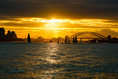 Sunset, Sydney, NSW, Australia (bofmichal) Tags: sunset sun skyline sky sydney australia boats bridge operahouse view evening explore water world worldtrekker sony moody atmosphere reflection flickrtravelaward