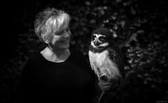 Bird Talk (Emil de Jong - Kijklens) Tags: uil kijklens blackandwhite birdmind wognum woman portrait owl vogel briluil