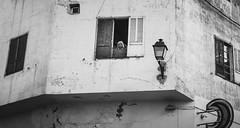 Spectator (Ash and Debris) Tags: africa bnw blackandwhite window morocco street mono look citylife bw urban citizen urbanlife guy house meknes city spectator wall mang watcher contrast
