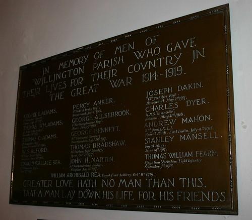 Willington First World War Memorial