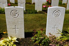 A.R. Cox, Duke of Cornwall Light Infantry & K.W. Martin, Royal Artillery, War Grave, 1944, Bayeux (PaulHP) Tags: ww2 world war 2 headstone grave france bayeux military cemetery british normandy cwgc corporal ar albert ronald cox service number 5494888 2nd august 1944 5th bn battalion dcli duke cornwalls light infantry alfred alice louise eveline rose worthing sussex gunner kw kenneth william martin 999383 3rd 102 northumberland hussars antitank regt regiment ra royal artillery beatrice ivy elizabeth warmley gloucs gloucestershire battle