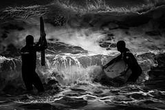 Fury (agnieszkawojcik) Tags: bw bnw blancetnoir blackandwhite blancoynegro blanconegro noflash białoczarne biancoenero blackwhite monotone mono mood no monochromatic monochrome bodyboard bodyboarding surf surfer people men sea seashore beach shore wave amorgos greece cyclades canon canon350d