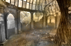 What remains (Ladmilla) Tags: sl secondlife gallery art artgallery theedge edge monochrome exhibition architecture ruin landscape mystictimbers