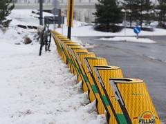 2019 Bike 180: Day 51, March 14 (olmofin) Tags: 2019bike180 finland bicycle polkupyörä snow lumi bikeshare kaupunkipyörä docking station asema mzuiko 45mm f18