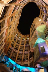 La Pedrera (Douguerreotype) Tags: window city dark barcelona night buildings uk urban gaudi spain catalunya architecture