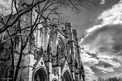 Cathedral of Saint John the Divine, New York City, USA (georgechamoun1984) Tags: nyc ny usa manhattan church cathedral protestant amsterdamavenue christianity cathedralofsaintjohnthedivine saintjohn stjohn episcopal romanesquerevival gothicrevival newyorkcity newyork bw blackwhite