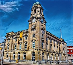 Brantford Ontario - Canada -  The Federal Building - Heritage - Architecture Beaux-Arts (Onasill ~ Bill Badzo - OFF) Tags: brantford on ont ontario brantcounty federal building downtown heritage historic onasill postoffice architecture style beaux art sky clouds hdr tower clock street customhouse arts canada
