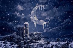Even the moon is frozen (A.B. Art) Tags: photoshop postprocessed photomontage composing fotobearbeitung fotomontage abart starburst911 cold kalt mond moon castle burg night nacht dunkel dunkelheit moonlight mondlicht eis ice eiszapfen icicle snow snowfall schnee schneefall blue blau