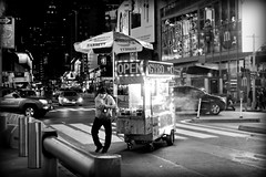 Crossing Broadway (Pierrot le chat) Tags: newyorkcity newyork night streetphotography scènederue blackandwhite noiretblanc nyc w48th broadway