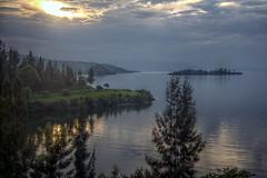 Lake Kivu Sunset (pbr42) Tags: rwanda kivu lakekivu kibuye hdr water h2o lake landscape coast coastline sky cloud island grass sunset