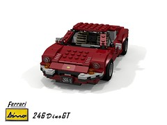 Dino 246 GT Berlinetta (1969) (lego911) Tags: ferrari 246 din ogt berlinetta coupe 1969 1960s classic italy italian sportscar midengine v6 auto car moc model miniland lego lego911 ldd render cad povray afol