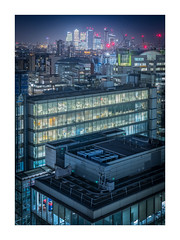 Busy London (Dave Fieldhouse Photography) Tags: london city docklands canarywharf skyscraper offices buildings architecture night dark lights rooftops rooftop construction cranes fuji fujifilm xpro2 wideangle evening skyline