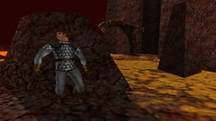Basilisk Bypass 2 (Platemail) (BarricadeCaptures) Tags: kingsquest kingsquestmaskofeternity maskofeternity thebarrenregion barrenregion lava connorofdaventry connor chainmail platemail basilisk rock gamescreenshots gamephotography videogame screencapture screenshot