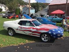 1971 AMC Javelin, West Newton, PA. 10-06-2018 (jackdk) Tags: antique antiquecar antiqueauto car carcruise carshow classiccar classic westnewtonpa amc americanmotors amx amcamx javelin javelinamx 1971 1971javelin redwhiteblue redwhiteandblue patriotic flag