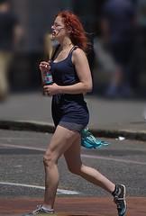 Smoking Running Redhead (Scott 97006) Tags: woman female lady exercise run jog redhead street