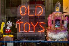 Old Toys (davidseibold) Tags: america displaywindow jfflickr neonsign photosbydavid piercecounty postedonflickr postedonmewephotographers tacoma text unitedstates usa washington window unitedstatesofamerica
