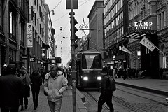 Helsinki tram (tomwilliamevans11) Tags: black white blackandwhite helsinki street structure streetscene finland people history architecture atmosphere cathedral carved fashion