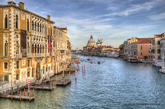 Venice (Jan Kranendonk) Tags: santamariadellasalute grand canal grande venice italy itailan european water river houses buildings europe mansions palazzo historical culture church religion boats santamariadellasalutesalute boating bollards dome landmark gondola sunset warm light hdr ngc
