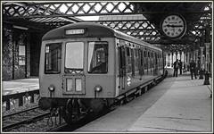 A trip further up Memory Lane (david.hayes77) Tags: hartlepool countydurham northeast class108 dmu monochrome blackandwhite bw 1976 ilford fp4 clock pottssons acutol
