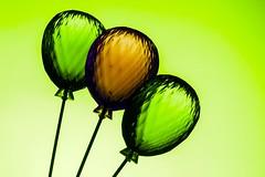 Glass Balloons (Karen_Chappell) Tags: balloon balloons green glass product three 3 stilllife decor brown