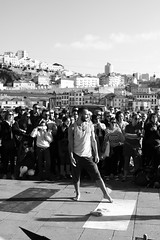 Dancing in the Street (O Lobão) Tags: dancer crowd street people performance sooc bw monochromatic 750d ribeira porto ribeiradoporto artist pose portugal