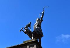 Statue (rustyruth1959) Tags: woman carving bow figure stone huntress goddess diana statue sky roof nationaltrust lymehouse lymepark disley cheshire england uk nikon1855mm nikond5600 nikon