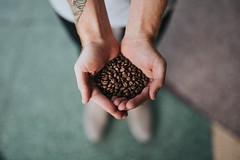 handful of coffee beans - Credit to https://myfriendscoffee.com/ (John Beans) Tags: coffee person hand coffeebean cafe coffeebeans shopbeans espresso coffeecup cup drink